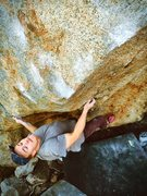 Rock Climbing Photo: Setting up for big move to razor sharp credit card...