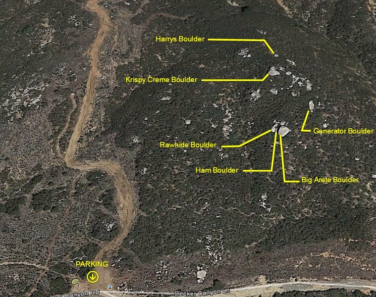Boulder map. I took the liberty of naming the boulders. Let me know if any already had a different name.