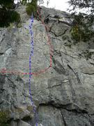 Rock Climbing Photo: A- Mulot en péril 5.10b B- Éomia 5.7