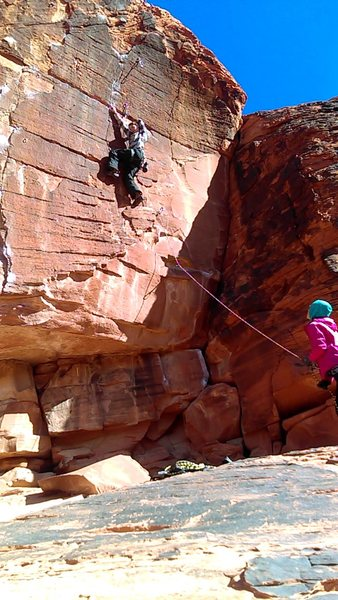Rock Climbing Photo: Seamlessly doing the crux move changing the routes...