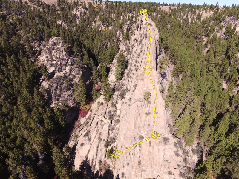 Rock Climbing Photo: Climb follows ridgeline to single rap with 70.