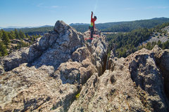 Rock Climbing Photo: At the rap.  Kinda awkward little step over to the...