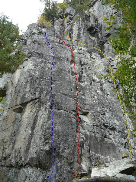 Rock Climbing Photo: A- Mésopotamie 5.6 B- Babylone/Bagdad 5.5 C- Requ...