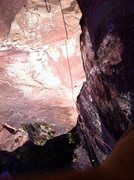Rock Climbing Photo: Looking down the freshly scrubbed corner of p7