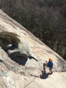 Rock Climbing Photo: Mike nearing the top of pitch 1.