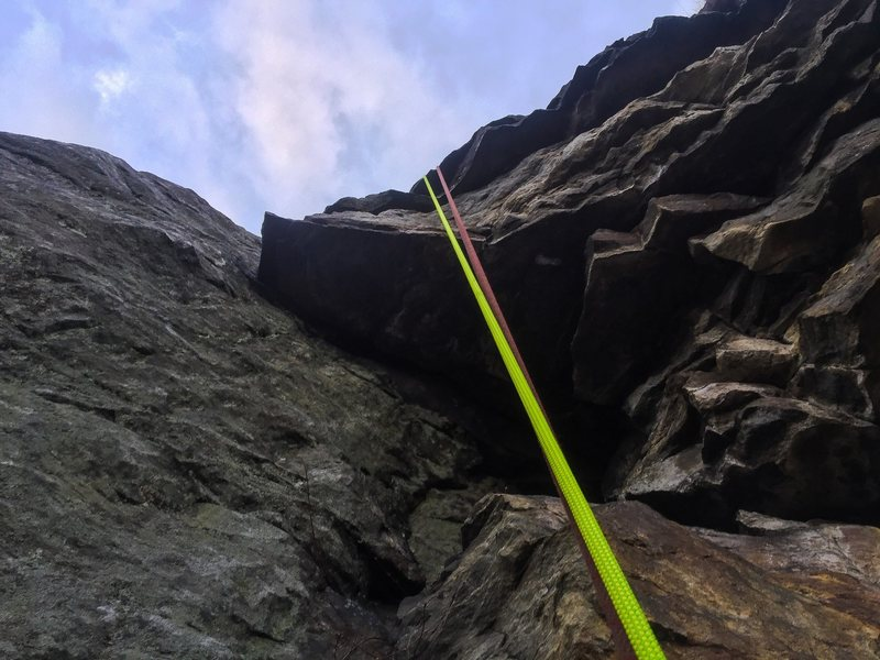 A view of the first crux on pitch 1. Makes sure to extend your sling and the belay station is just above.
