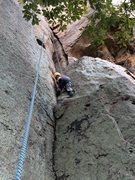 Rock Climbing Photo: Evan, 6, working up the corner of Blind Date, T Wa...