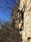 Rock Climbing Photo: S Perkins on the start of Stepping Stone, T Wall, ...