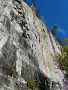 Rock Climbing Photo: A- Malédiction du Tranchant 5.11c/d B- Vache sauv...