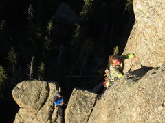 Rock Climbing Photo: Kyle Rott leading the second pitch, Taylor Lais be...
