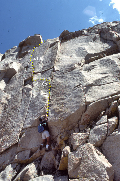 "The base of ""Mister Catastrophe"" (5.10c) showing the line of the route"