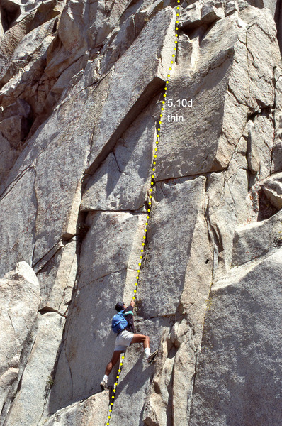 "Rock Climbing Photo: The line of ""Slice of Life"", 5.10d arete..."