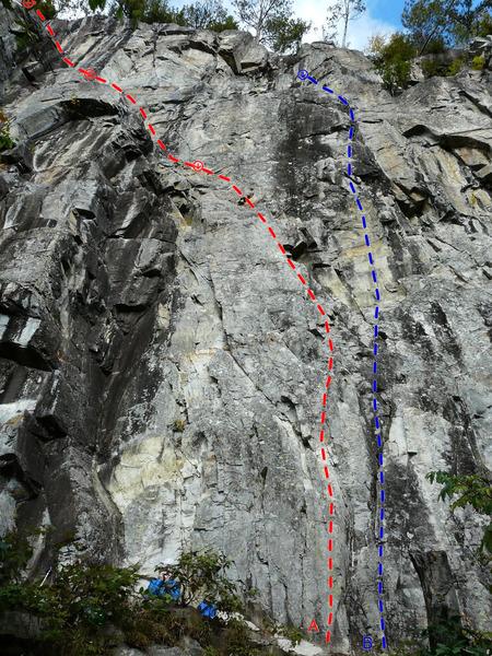 Rock Climbing Photo: A- Astéroïdes II 5.8 B- Pensée magique 5.10a