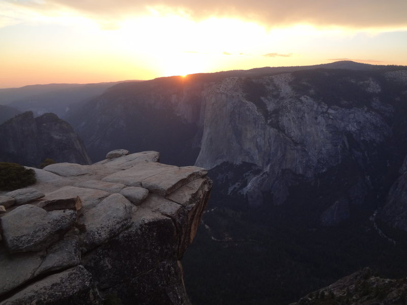 Paying my respects on a peaceful evening solo hike to Taft Point. Yosemite.  Summer 2015.