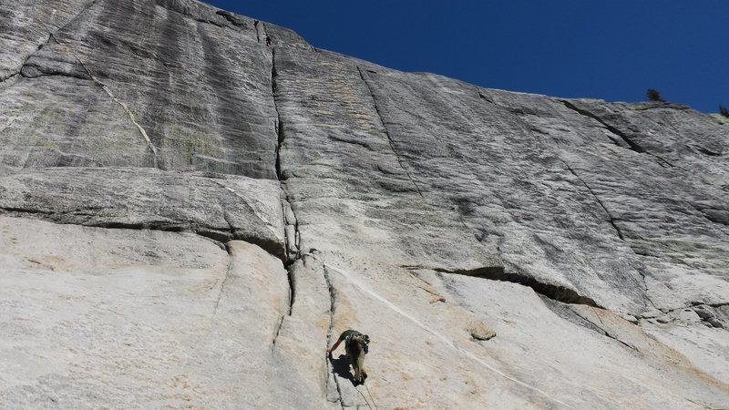 Climbing in Tuolumne Meadows with John Durr.  This here is a great climb called Holdless Horror.  Summer 2015.