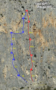 Rock Climbing Photo: Route topo from the man who bolted it! Ebola line ...