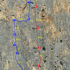 Route topo from the man who bolted it! Ebola line shown in red next to Amptrax in blue.