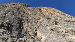 Rock Climbing Photo: View from the bottom with the first three anchors.
