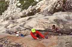 "Rock Climbing Photo: Dave makes the second clip on ""Sweet Suspicio..."