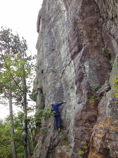 Rock Climbing Photo: Scoping out the opening moves on Rural Juror.