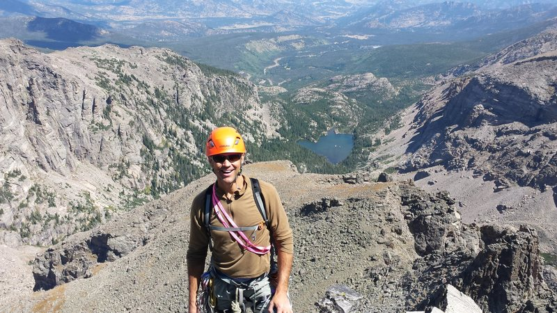 Rock Climbing Photo: Mike Walley on top of Sharks Tooth in RMNP.  Early...
