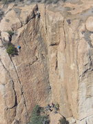 Rock Climbing Photo: Climber (left) at the top of the Sumac Route.