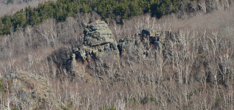 The spire at the top of Chimney Mountain. This is the south face.