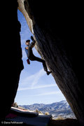 Rock Climbing Photo: With a high heel hook, Jake Warren pieces together...