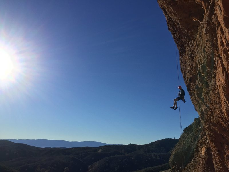 Rock Climbing Photo: Coming down the second rap on a beautiful December...