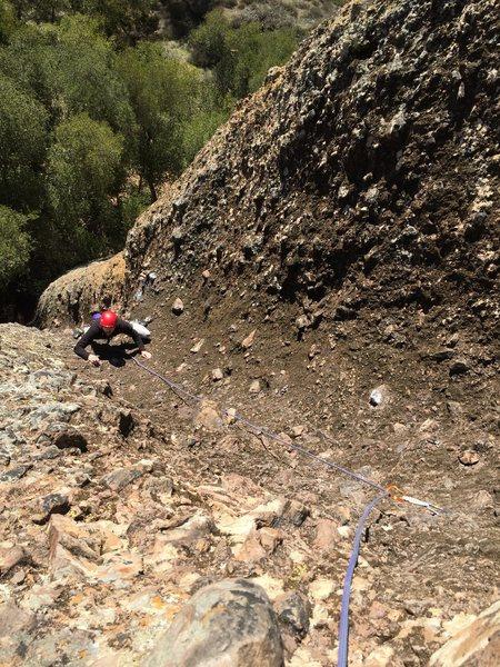 Rock Climbing Photo: Tim S. coming up toward the top of P1.
