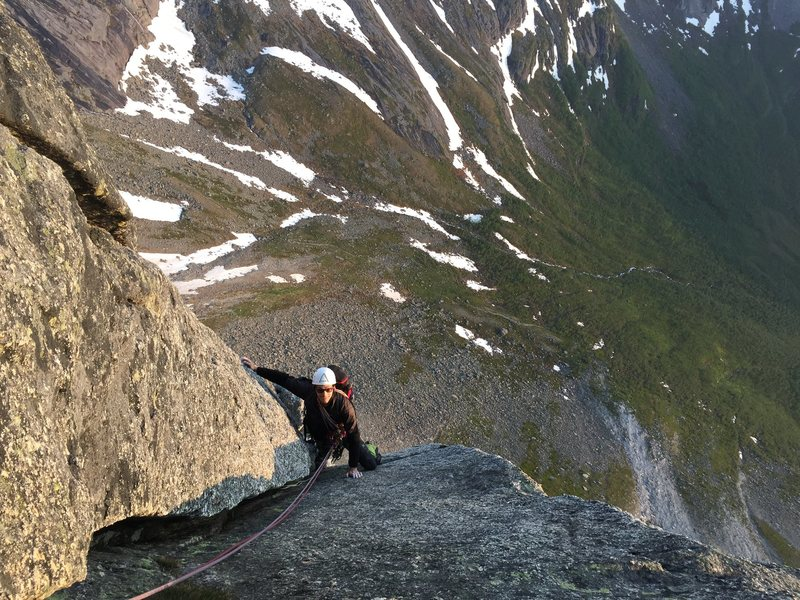 Stefan on Southpiller of Stetind, Norway. July 2015