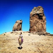 Rock Climbing Photo: Sara approaching Roque Nublo, Gran Canaria. March ...