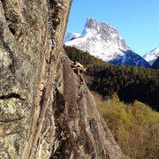 Rock Climbing Photo: Aslak climbing for aprés after a long day skiing ...