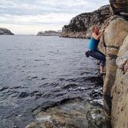 Rock Climbing Photo: Sara warming up with some DWS, West Coast of Norwa...