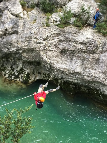 Joseph on the tyrolean traverse in the Gorges Du Verdon. March 2015