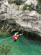 Rock Climbing Photo: Joseph on the tyrolean traverse in the Gorges Du V...