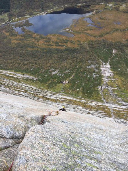 Ove coming up pitch 5 on Midsummernattsdrøm 6+ Norwegian, 6b?. Uskedalen, Norway. October 2015.