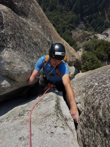 Rock Climbing Photo: Pete Davis seconding the 2nd pitch of the East But...