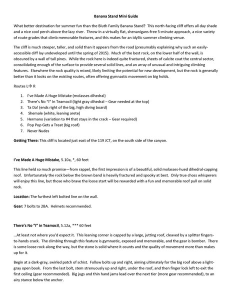 Banana Stand Mini Guide Page 1