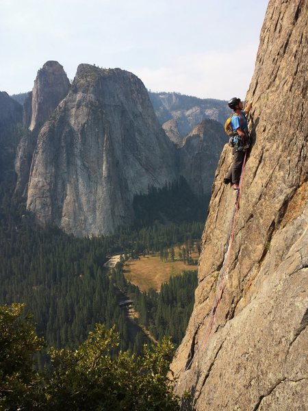 Rock Climbing Photo: Pete Davis on the sharp end, pitch 3 of the East B...