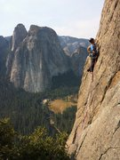 Pete Davis on the sharp end, pitch 3 of the East Buttress, El Capitan