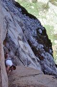 """Rock Climbing Photo: Dave Caunt on """"Demonology"""" (5.10b lie-ba..."""