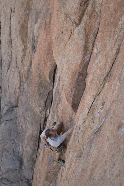 Rock Climbing Photo: Getting psyched to push through the 2nd of 3 cruxe...