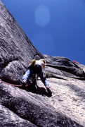 "Rock Climbing Photo: Scott Cole starting to lead ""Black Like Me&qu..."