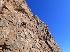 """Rock Climbing Photo: Suzanne approaching the roof on """"Speed Bump&q..."""