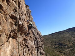"""Rock Climbing Photo: Susan up and over the roof on """"Speed Bump&quo..."""