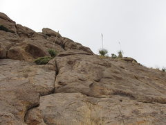Rock Climbing Photo: Climbing above the crux. The route continues up th...