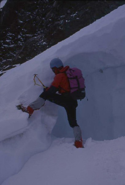 Negotiating the Bergschrund on Dana Couloir<br> Photo by Bill McConachie
