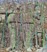 Rock Climbing Photo: routes overview Shadow Castle sector A - Cleft Bas...