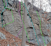 Rock Climbing Photo: Routes overview - lower right - Jumble Hotel E - F...